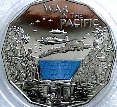 Australia 2015 Australia at War. War in the Pacific Coloured 50 cent Carded Coin