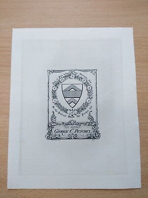 WH FOSTER PICTORIAL BOOKPLATE EX LIBRIS Dr GC PEACHEY 1900 COPPERPLATE ENGRAVING