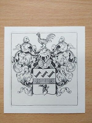 Unknown Anonymous French? Armorial Bookplate Ex Libris Copper Plate 1891