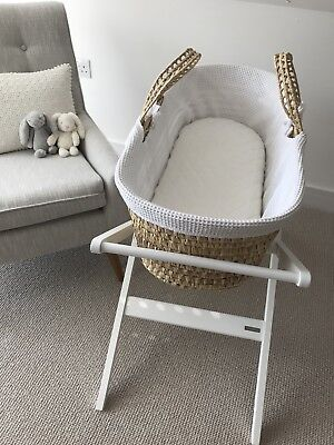 John Lewis Baby Moses Basket + Stand + Mattress & Fitted Sheets !Bargain!