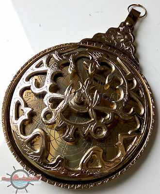 Brass Astrolabe Arabic Globe Navigation Astrological Calendar Collectible Gifts