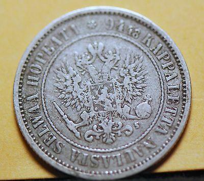 Finland, 1874-S Markka, silver, KM3.2, Very Good, Or Best Offer,           mab19