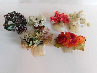 6 Vintage Millinery flower Hair Combs for vintage Hats