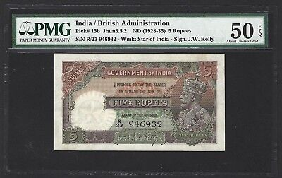 1928 -1935 India 5 Rupees PMG 50 EPQ AU, THE BEST AVAILABLE IN A LONG TIME P-15b