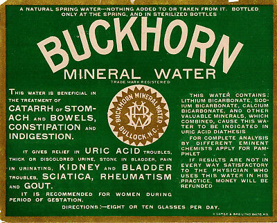 1890s BUCKHORN LITHIA WATER CO, BULLOCK, NORTH CAROLINA MINERAL WATER HUGE LABEL
