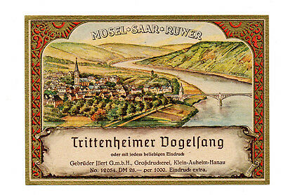 1900s TRITTENHEIMER DOGELFANG, MOSEL - SAAR - RUWER, GERMANY WINE LABEL