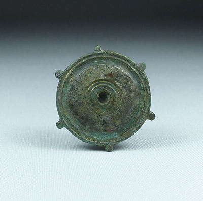 Ancient Roman Silvered Bronze Disc Brooch 2Nd Ad