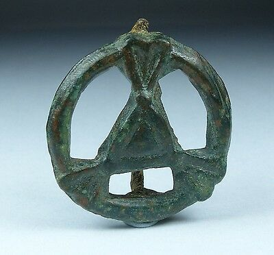 Ancient Roman/celtic Bronze Plate Brooch 1St Ad