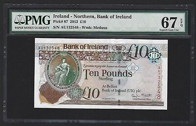 2013 Northern Ireland 10 Pounds, Bank of Ireland PMG 67 EPQ GEM UNC, P-87