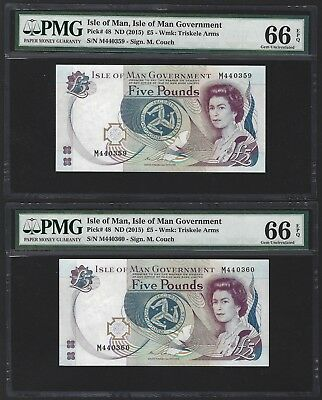 2015 Isle of Man 5 Pounds, PMG 66 EPQ GEM UNC, Popular Pair of Notes, P-48