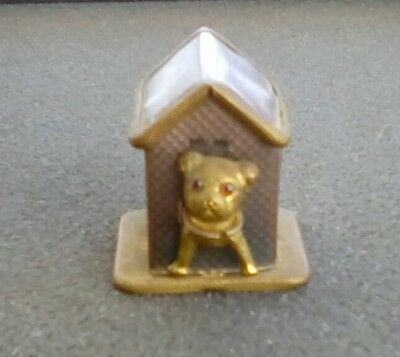 Antique Dog & Dog House Tape Measure - Brass & Celluloid - Germany - Sewing