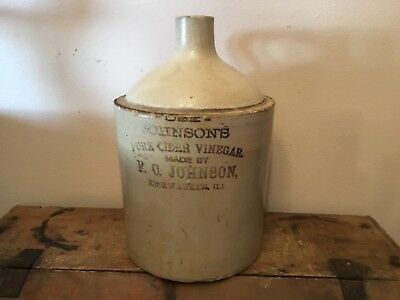 Vintage Antique Stoneware Jug Johnson Vinegar Kishwaukee, Illinois