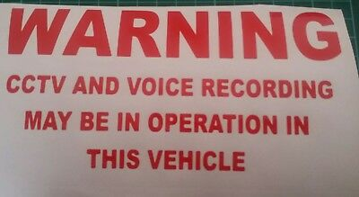 3 Cctv and voice recording stickers car van taxi sticker /decal