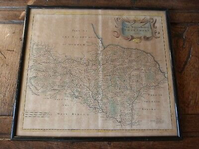 Antique Map Hand Coloured Engraving The North Riding of Yorkshire Robert Morden
