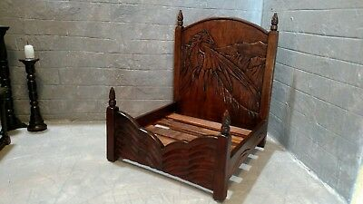 OOAK Medieval Castle Wizard DRAGON BED Artisan Handcarved Dollhouse Miniature