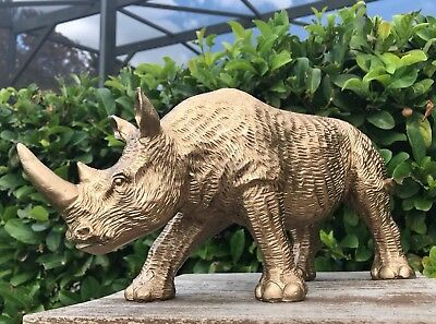 "Rhinoceros Rhino Figurine Animal 13"" Sculpture Statue Golden Modern Home Decor"