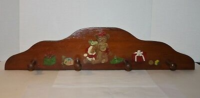 Wooden 1987 Hand Made & Painted 4-Peg Wall Hanger Baby Nursery / Toddler Bedroom