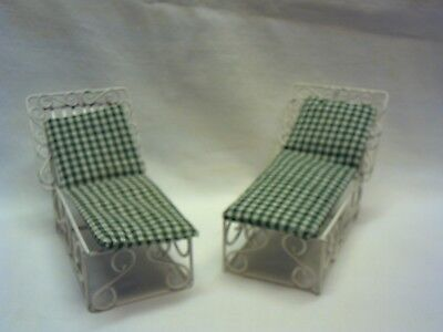 2 Dollhouse 1:12 scale wire chaise lounges, white wire with pads