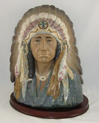 "Lladro Gres Figurine 12127 ""INDIAN CHIEF w/BASE"" Retired 1988"