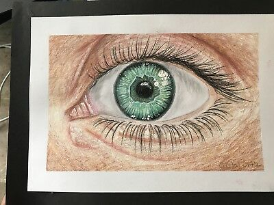 Original Colored Pencil Eye Study Drawing