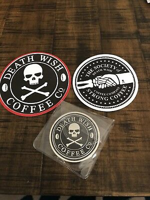 Death Wish Coffee Society Member COIN MEDALLION Token 2016 W/ 2 Stickers