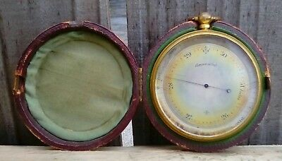 Antique English Pocket Barometer With Fitted Leather Case