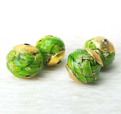 Chinese Enamel Bright Green Gold Capped Basket Weave Beads 12mm4Pcs