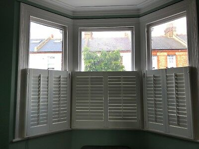 Window shutters - plantation-style - half window - white MDF - variable louvres