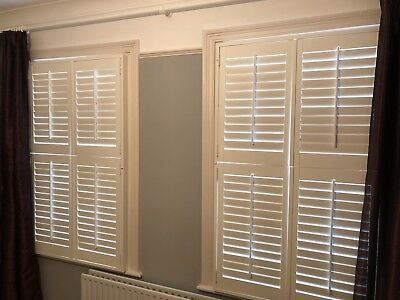 Window shutters - plantation-style - full window - white MDF - variable louvres