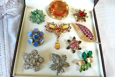 Large Mixed Job Lot Collection Of Vintage Rhinestone Brooches Various
