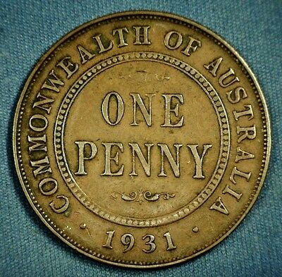 1931-M Australia One Penny - Better Date Coin - Approx. 494,000 Minted