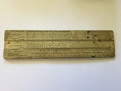 """THE ELECTRICIAN"" PRACTICAL WIRELESS SLIDE RULE - DESIGNED BY Dr. H R Belcher-Hi"