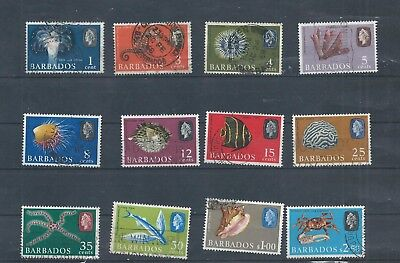 Barbados stamps  12 of the 1966 series used. Sideways watermark. (C391)