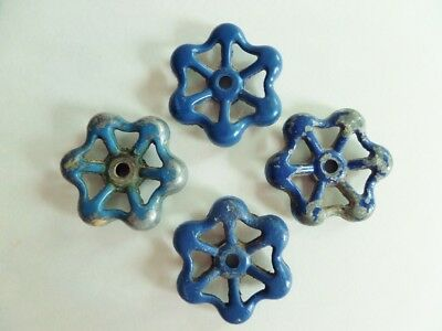Metal Faucet Knobs Blue Valve Industrial Steampunk Vintage Used Set of 4 Rustic