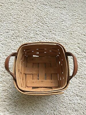 Longaberger Small Square Basket w/Leather Handles, 1995