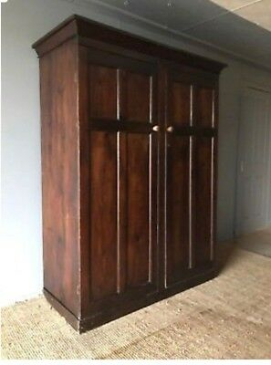 Huge Large Antique Victorian Panelled Pine Armoire Wardrobe Hall Cupboard