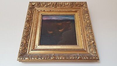 20th Century Framed oil Painting. English School Study Pair of Bulls. Signed.
