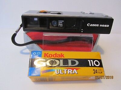 Canon 110Ed 110 Film Camera With Kodak Gold Film And New Battery, Working Order