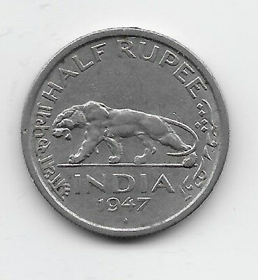 World Coins - India 1/2 Rupee 1947 Coin KM# 553