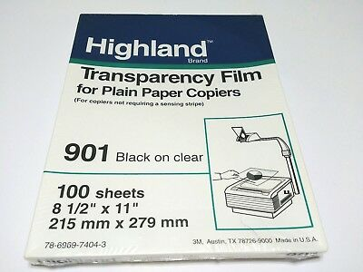 Highland Brand Transparency Film for Plain Paper Copiers 901 Black on Clear 100