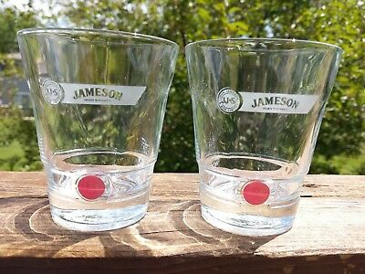 John JAMESON & Son Red Label Irish Whiskey Lowball Rocks Glasses Pair (2) MINT!