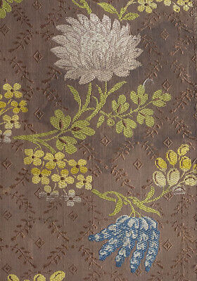 Antique fragment 18th century chrysanthamum flowered lampas silk from France