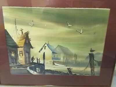 "Robert Landry Signed Original Watercolor Harborscape 19"" X 27"" **MOVING SALE"
