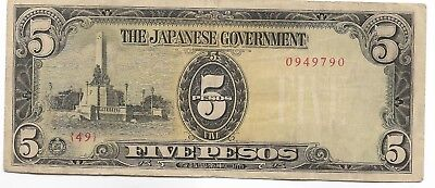 Rare Very Old Japanese WWII Japan War 5 Peso Dollar WW2 Collection Bank Note D9