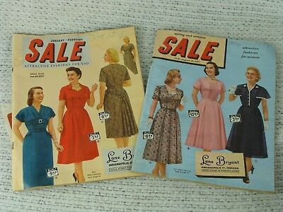 Vintage Womens Fashion Catalogs LANE BRYANT 1956 & 1957 Lot of Two Mid Century