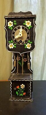 Mini GRANDFATHER Clock Linden BLACKFOREST Pendulum KEY WOUND WIND Painted