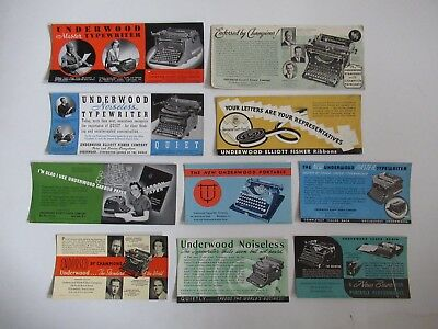 Vintage,10 Pc Lot, Underwood Typewriter Advertising Blotters,unused, 4 Lg.6 Sm