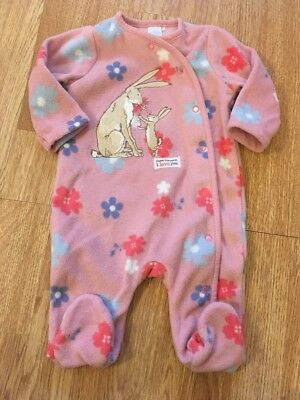 Guess How Much I Love You Baby Girls Fleece Sleepsuit 0-3 Months
