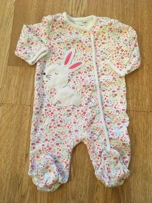 Blue Zoo Baby Girls Floral Bunny Sleepsuit 0-3 Months Vgc