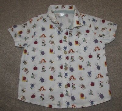 Baby boy's M&Co white bug short sleeved button up shirt top size 6 - 9 months